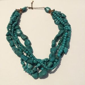 Cool Vintage Acrylic Turquoise Statement Necklace
